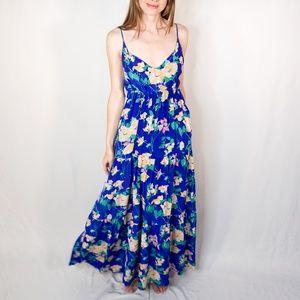 YUMI KIM Darling Silk Maxi Dress in Blue Floral